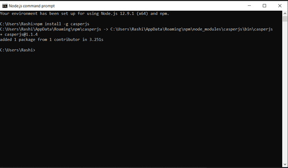 Install CasperJS Command Prompt